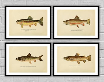Fishing art set Trout 4 pack Fishing wall art Angling Fishing art posters Fly fisherman gifts for him Fisherman gift idea 009-012