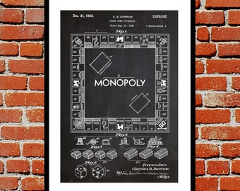 Monopoly Patent, Monopoly Poster, Monopoly Print, Monopoly Art, Monopoly Decor, Monopoly Blueprint, Monopoly Board Game, Games Room p1442
