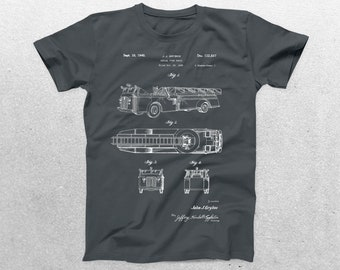 Fire Truck Helmet Patent T-Shirt, Fire Truck Blueprint, Patent Print T-Shirt, Fireman Shirt, Firefighter T-Shirt p1108
