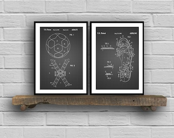 Soccer Patent Prints  Set of 2  Soccer Ball Patent Poster Soccer Cleats Blueprint Soccer Cleats Print Soccer Art Sports Decor sp47