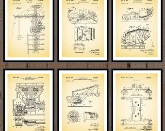 Construction Patent Prints - Set of 6 - Tower Crane, Road Roller, Concrete Mixer, Slip Ring, Shovel Winch, Construction Decor sp56