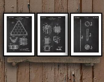 Pool Billiards Patent Prints - Set of 3 - Billiards Decor - Billiard Cue Art - Billiards/Pool Blueprint - Pool Rack - Pool Hall Art sp27