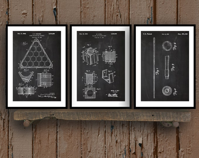 Featured listing image: Pool Billiards Patent Prints - Set of 3 - Billiards Decor - Billiard Cue Art - Billiards/Pool Blueprint - Pool Rack - Pool Hall Art sp27