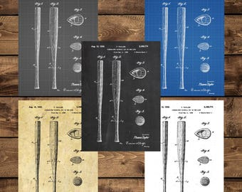INSTANT DOWNLOAD -Baseball Bat Print, Baseball Art, Baseball Poster, Baseball Decor, Baseball Gifts, Baseball Bat, Patent, Patent art