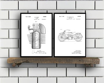 Harley Davidson Patent Posters Group of 2 Harley Davidson Prints Vintage Motorcycle Motorcycle Parts Motorcycle Harley Patent SP287