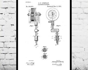 Tattoo Machine Patent Tattoo Machine Poster Tattoo Machine Blueprint  Vintage Tattoo Print Tattoo Machine Art Tattoo Machine Decor p288