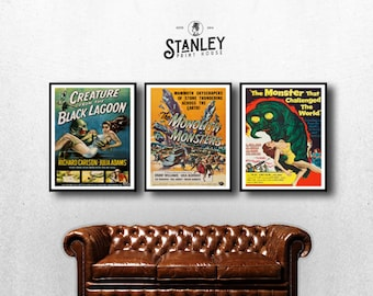 MOVIE posters set of 3 vintage movies Classic Horror Movie Film Poster bundle pack Poster Art Vintage Print Art Home Decor monster sp588