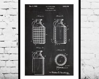 Hand Grenade Patent Hand Grenade Poster Hand Grenade Print Hand Grenade Art Hand Grenade Decor Hand Grenade Wall Art Grenade p1256