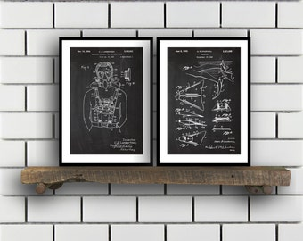 Scuba Related Patent Set of TWO Scuba Invention Patent Scuba Poster Scuba Print Scuba Patent Scuba Inventions Diving SP363