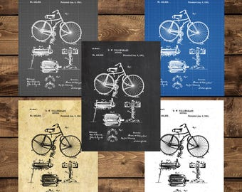 INSTANT DOWNLOAD - Bicycle Poster, Bicycle Patent, Bicycle Print, Bicycle Art, Bicycle Decor, Bicycle Blueprint, Bicycle Wall Art