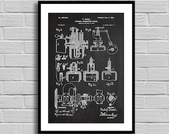 Diesel Engine Patent, Diesel Engine Poster, Diesel Engine Blueprint, Diesel Engine Print, Combustion Engine, Mechanic Gift, Auto p1099