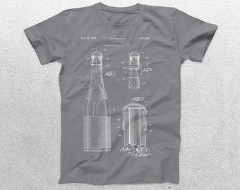 Wine Bottle Patent T-Shirt, Wine Bottle Blueprint, Patent Print T-Shirt, Wine Lover Shirt, Bartender Gifts, p976