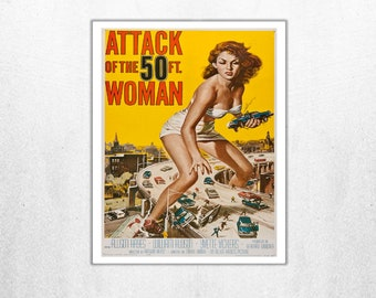 MOVIE poster vintage Attack Of The 50ft Woman Classic Horror space poster Poster Art Vintage Print Art Home Decor movie poster Fantasy sp641