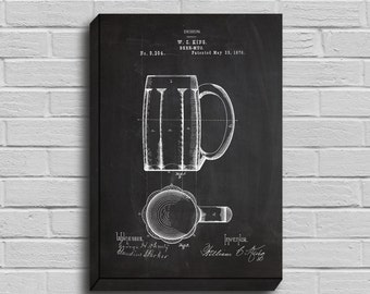 CANVAS  Beer Mug Patent Beer Mug Poster Beer Mug Blueprint Beer Mug Print Beer Mug Art Beer Mug Decor p049