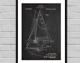 Sailboat Patent Sailboat Poster Sailboat Blueprint  Sailboat Print Sailboat Art Sailboat Decor Nautical Decor Nautical Art p254