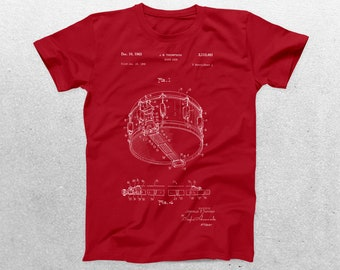 1962 Snare Drum Patent T-Shirt, Drum Blueprint,Patent Print T-Shirt, Drummer Gift, Band T-shirt, Musician Gift p865