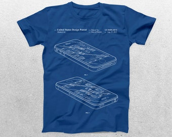 iPhone Patent T-Shirt, iPhone Blueprint, Patent Print T-Shirt, iPhone Shirt, Technology Shirt, Apple iPhone Shirt p178