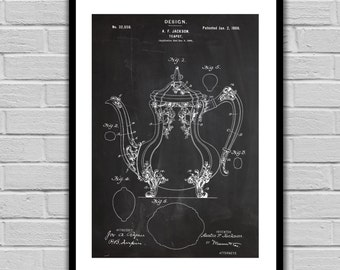 Tea Pot Patent Tea Pot Poster Tea Pot Blueprint Tea Pot Print Tea Pot Art Tea Pot Decor Gifts for Tea Drinkers p1057