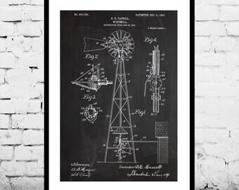 Windmill Patent Windmill Poster Windmill Blueprint  Windmill Print Windmill Art Windmill Decor p336