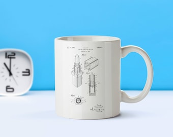 Vintage Lipstick patent mug  coffee mug  coffee lover  patent art  patent mug  Make up decor Vintage Gift for Make Up ArtistsM154
