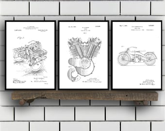 Harley Davidson Patent Posters Group of 3, Harley Davidson Prints, Vintage Motorcycle, Motorcycle Parts, Motorcycle Harley Patent, SP512