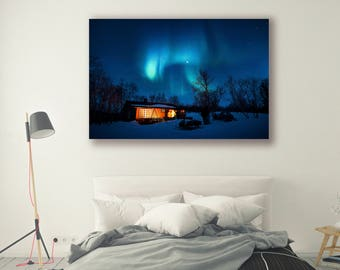 photography framed poster canvas art home decor Aurora Borealis Tree Art Nature Landscape Nature Photography Home Decor Seasonal Wall PH0186
