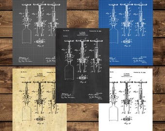 INSTANT DOWNLOAD - Corkscrew Print, Corkscrew Poster, Corkscrew Patent, Corkscrew Art, Corkscrew Blueprint, Corkscrew Wall Art, Wine Decor