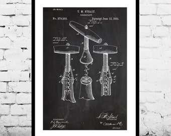 Corkscrew Print Corkscrew Poster Corkscrew Patent Corkscrew Decor Corkscrew Art Corkscrew Blueprint Corkscrew Wall Art Wine Art p086