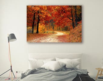 Fall leaves Print Large Wall Art Print Thick Forest Fine Art Photography Print Nature Photography Wall Decor Trees Nature PH02