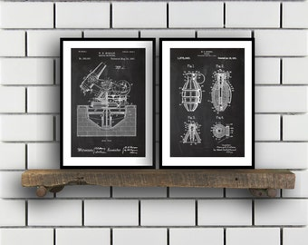 Military Patent Prints  Set of 2  Grenade  Military Patent Military Poster Military Blueprint Military art sp349