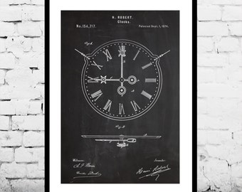 19th Century Clock Patent Clock Poster Clock Blueprint  Clock Print Clock Art Clock Decor p440