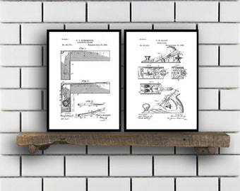 Woodworking Patent Prints Set of TWO Woodworking Tools Patents Tools Carpenter tool Inventions Woodworking Decor Mancave SP387