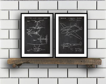 Airplane Patent Airplane poster Set of TWO Airplane Invention Patent Airplane Poster Airplane Print Airplane Inventions SP222