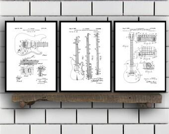 Fender Guitar Poster - 3 PACK,  Fender Guitar Blueprint, Fender Guitar Patent, Fender Guitar Prints, Fender Guitar Art, Guitar Decor SP40