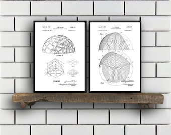 Buckminster Related Patent Set of TWO Buckminster Invention Patent Buckminster Poster Architecture Geodesic Architecture SP374