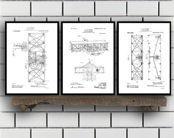 Wright Brothers Related Patent Set of THREE, Wright Brothers Invention Patent, Airplane Poster, Airplane Print,Airplane Inventions, SP188
