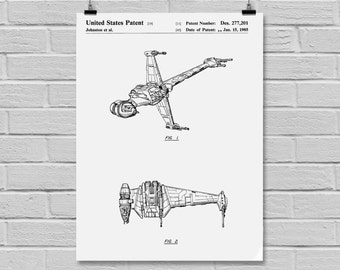 Star Wars B-wing Star Wars Poster B-wing Star Wars Patent B-wing Star Wars Print Millennium Falcon B-wing black and white p930