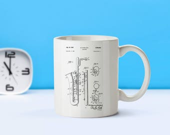 Saxophone patent mug  coffee mug  coffee lover  patent art  patent mug  Musical Instruments Music Room Decor Musician GiftM84