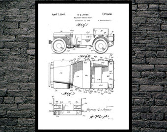 Jeep Art Poster, Jeep Patent, Jeep Print, Jeep Art, Jeep Decor, Jeep Wall Art, Jeep Blueprint Copy 1128
