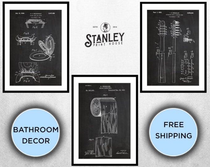 Featured listing image: Bathroom Patent Prints Set of 3, Bathroom Decor, Bathroom Art, Toilet paper, Toilet Seat, Tooth Brush,Bathroom Wall Art,Bathroom 3 set SP573
