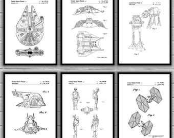 Star Wars Patent Prints,  Set Of 6, Star Wars Millennium Falcon, Star Wars Bedroom Wall Art, Star Wars Movie Patents, Science Fiction sp498