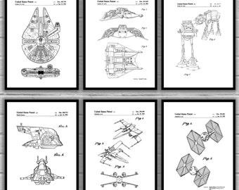 Star Wars patent, Millennium Falcon, Tie Bomber, X-wing, AT-AT, Star Wars Poster, Star Wars Patent, Millennium Falcon Star Wars Print SP564