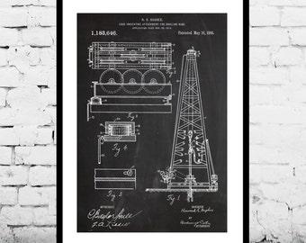 Oil Drilling Rig Patent , Howard Hughes Poster, Oil Drilling Rig Patent by Howard Hughes, Oil Rig Patent