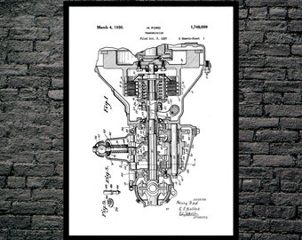 Henry Ford Transmission Print, Henry Ford Transmission Poster, Henry Ford Transmission Patent, Transmission Blueprint p158