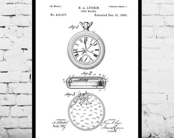 Vintage Stop Watch Patent Vintage Stop Watch Poster Vintage Stop Watch Print Vintage Stop Watch Art p1075
