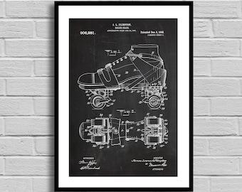 Roller Skate Patent, Roller Skate Patent Poster, Roller Skate Blueprint, Roller Skate Print, Sports Decor, Skating Decor, Vintage,Home p850