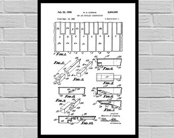 Piano Keys Patent, Piano Poster, Piano Blueprint, Piano Print, Piano Art, Piano Decor p842