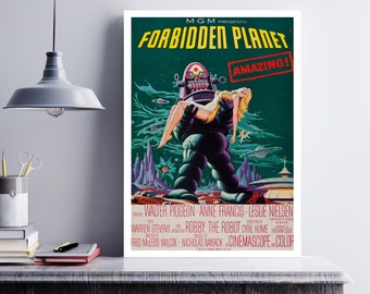MOVIE poster vintage Forbidden Planet Classic Horror space poster Poster Art Vintage Print Art Home Decor movie poster Sci Fi sp613