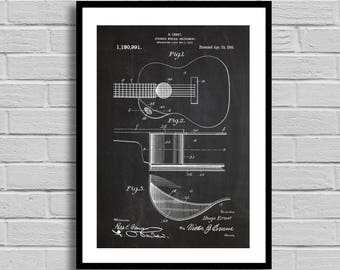 Guitar Patent, Guitar Patent Poster, Guitar Blueprint, Guitar Print, Music, Musician Gift, Music Room Decor, Band Decor, Guitarist Gift p818