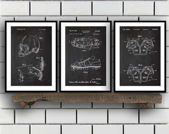 Football Patent Prints - Set of 3 - Football Decor - Football Art - Football Blueprint - Football - Football Art SP213